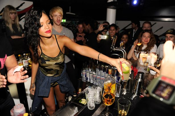 Rihanna celebrates at her after party following her show at Berns during her 777 tour-1441709